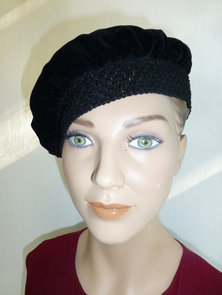 8f2c49605909e0 Vintage 1960's Black Velvet Headpiece with Woven Elastic Band, Tassel & Red  Satin Lining : That Way Hat. New, Hand Crafted and Custom Millinery - Online