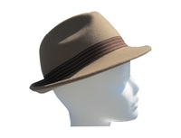 Out of Stock - Mens Beige Wool Felt Fedora with Brown Band