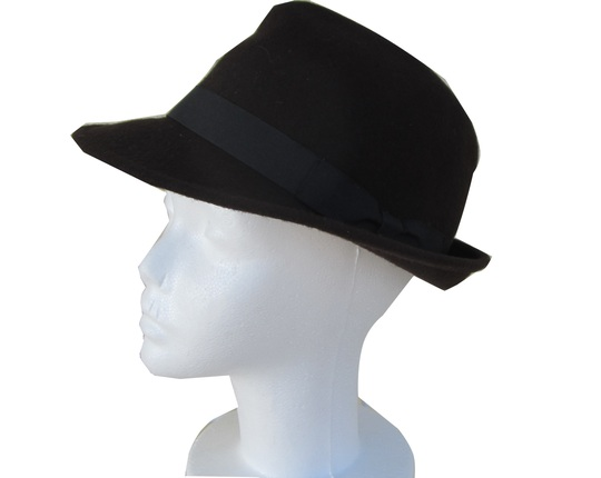 Mens Black Fedora with Simple Matching Band   That Way Hat. New ... 7aeae06d1c1f
