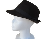 Mens Black Fedora with Simple Matching Band