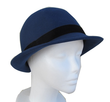 c08454bae9 Women's Blue Velvet Hat with Black Velvet Band : That Way Hat. New, Hand  Crafted and Custom Millinery - Online