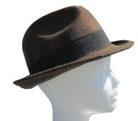 Brown Mens Wool Felt Hat with Wide Black Band