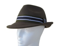 Beige Mens Fedora with Navy, Green White Stripe Band
