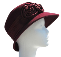 Women's Date Red Satin Flower Hat