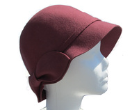 Women's Maroon Soft Felt Wool Hat with Bow in Back