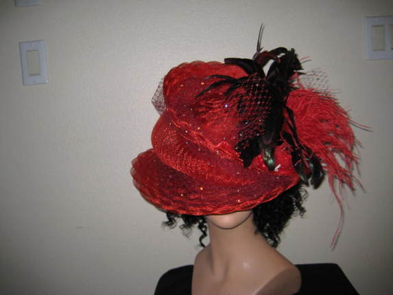 Miss Sassy Hat With Swarovsky Crystals Amidst Ostrich Rooster Tail