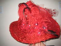 Red Glitzy Lady Swarovsky and Ostrich Hat by Society Woman: One Only
