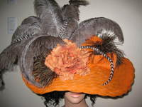 Orange Claudia Hat with Grey Ostrich Feathers & AB Crystals