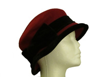 Deep Red Wool Hat with Black Velvet Band & Trim