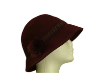 Dark Red Wool With Rabbit Fur Hat