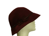 Dark Red Wool Hat with Daisy Band