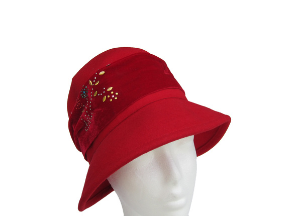 badf821639aeb Women s Red Wool Hat with Velvet Band and Gold Tree Highlights   That Way  Hat. New