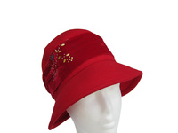 Women's Red Wool Hat with Velvet Band and Gold Tree Highlights