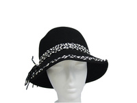 Black Wool Hat with Black & White Braided Band