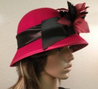 Red Suede Hat With Black Ribbon And Flower Accent