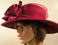 Wine Red Hat With 2 Satin Roses And Tulle