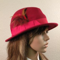 Red M Style Fedora Hat With Feathers