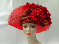 Crimson Hat with Scarf Feathers Roses and Rhinestones 062