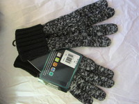 Men's Black & White Soft Lambs Wool Blend Touch Screen Gloves