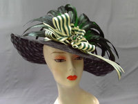 SOLD - Executive Privilege Black Horsehair Hat With Feathers Ribbon And Green Gem 315
