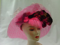 Del Mar Pink Horsehair Hat With Rose And Feathers 197