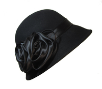 Womens Black Wool Cloche with Satin Double Roses