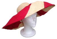 Wide Stripe Red and Natural Big Hat