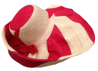 Mena Dian-Kapoka Wide Stripe Red and Natural Big Hat