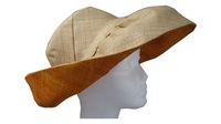 Wide Natural & Orange Madagascar Raffia Hat