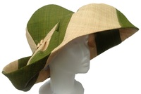 Olive Green and Natural Striped Raffia Sun Hat