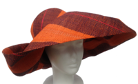 Orange and Wood Color Striped Madagascar Raffia Hat
