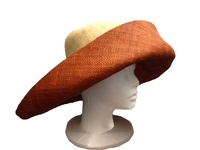 "Large Natural & Burnt Orange Madagascar Raffia Hat 6"" Brim"