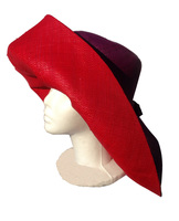 Red and Purple Madagascar Raffia Sun Hat