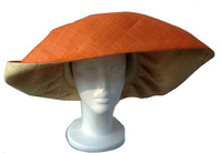 Orange Out and Straw in Raffia Hat