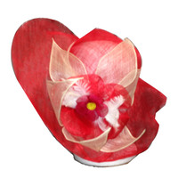 Red Sinamay Hat with Flowers