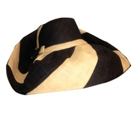 XL Black and Natural Swirl Stripe Raffia Hat