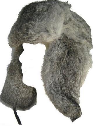 89b6a1dcef6 Grey Genuine Fur Russian Aviator - Bomber- Trapper Hat by Klondike Sterling
