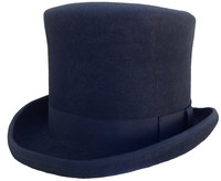 Black Medium Size Top Hat - Stiff Wool with Grosgrain, Satin, Leather