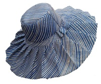 Extra Large Blue Madagascar Hat with Folds