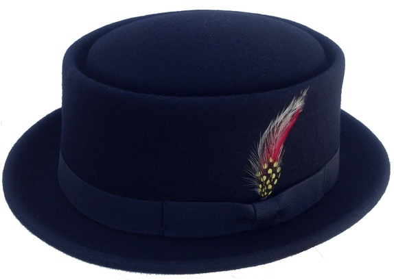 db23f5e8c2951e Pork Pie - Black Soft Wool Porkpie Hat with Colorful Feather : That Way Hat.  New, Hand Crafted and Custom Millinery - Online