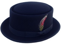 Pork Pie - Black Soft Wool Porkpie Hat with Colorful Feather