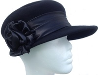 Women's News Boy Black Wool Hat