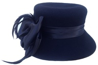 Flat Top Church Hat - Big Bow Black Satin Ribbon Hat with Feathers