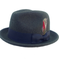 Avocado Green Fedora with Feather - Soft Wool Felt