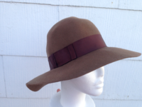 Broad Brim Wool Hat - Brown