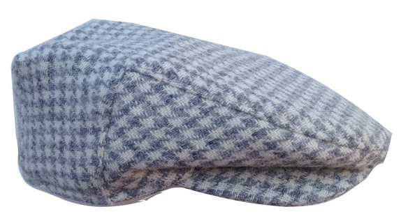 White and Grey Houndstooth Wool Scally Cap - Scottish Tweed   That Way Hat.  New aeb4f107223