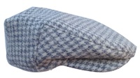 White and Grey Houndstooth Wool Scally Cap - Scottish Tweed