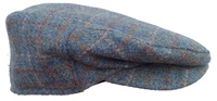 Sea Green Plaid Cabbie Cap - Hand Loomed Harris Tweed