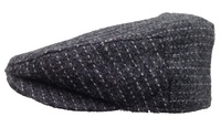 Hand Loomed Tweed Driving Cap - Dark Grey with White Stripes