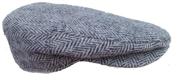 Grey and White Herringbone Scally Cap- Handwoven Scottish Tweed   That Way  Hat. New 0e01c920a10